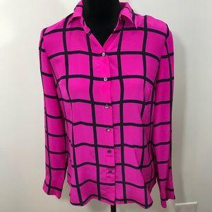J Crew Pink Black 100% Silk Top In Windowpane Sz 2